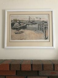 Polly Chase Vintage Etching Original Pier Signed Artist Proof A/p Framed
