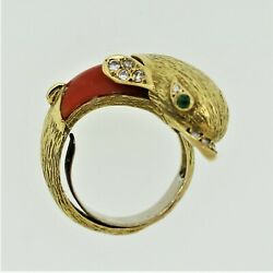 1970's Diamond Coral Emerald Dolphin Ring 18k Yellow Gold