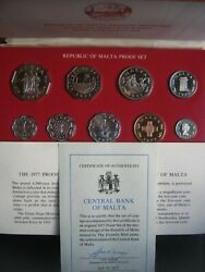 Malta 1977 Decimal Proof 9 Coin Collection Set By Franklin Mint Coa Info Cased