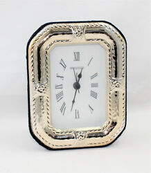 Table Clock Plated Silver 925 Numbers Roman With Alarm Clock Made In Italy
