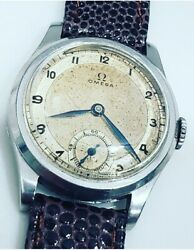 Vintage Rare Omega Military Wwii 1935 Cal. 26.5 Sob Sector Dial 31mm Mens Watch