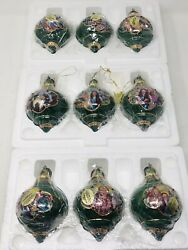 Lot Of 9 Bradford Exchange Wizard Of Oz Christmas Ornaments W/ Tags Green