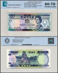 Fiji 20 Dollars Banknote 1982 P-85a Unc Tap 60-70 Authenticated