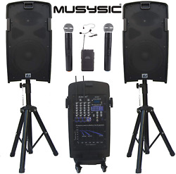 2000w Portable Pa System 2x10 Speakers Wireless Rechargeable Battery Bluetooth