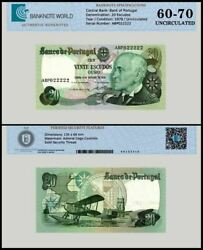 Portugal 20 Escudos Banknote 1978 P-176a.4 Unc Tap 60-70 Authenticated