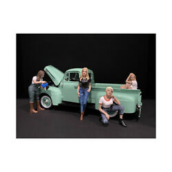 Car Girls In Tees Figurines 4 Piece Set For 1/24 Scale Models By American Dio...