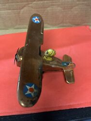 Marx Copper Not Tin Litho Wind Up Toy Vintage Us Air Force Plane - Working Rare