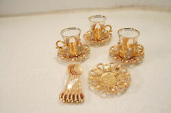See Notes Demmex Turkish Tea Glasses Set W Metal Holders Gold Crystal Accents