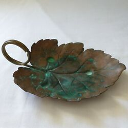 Coppercraft Guild Leaf Tray Trinket Dish Candy Dish Patina Aged Distressed