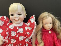 Lot Of 2 Porcelain Reproductions Of German Bisque Dolls. Smiling Doll