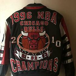 Chicago Bulls Nba Memorial Championship Leather Jacket /l Or Xl Size