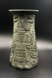 Antique Decorated Engraved Carved Figures Vessel Vase From Ancient Akkadian