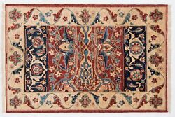 Afghan Chobi Ziegler Carpet Hand Knotted 110x160 Red Oriental Wool