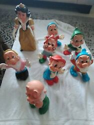 1970s Vintage Snow White And The Seven Dwarves Large Rubber Squeak Toys