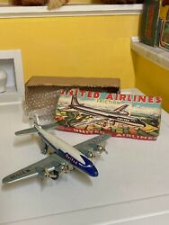 Vintage Friction Tin United Airlines Dc-7 Mainliner. Fully Working With Box