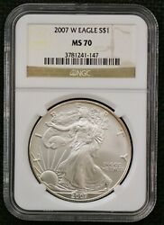 2007-w 1 Silver American Eagle Dollar Ms 70 Ngc 2007 W West Point Mint