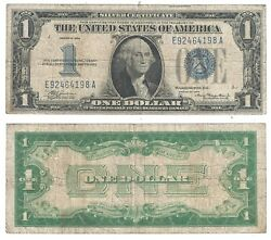 1934 1 Silver Certificate Funny Back E-a Block Fr 1606 Very Good 4198