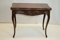 French Rosewood Card Games Hall Table With Folding Top And Inside Felt C. 19th
