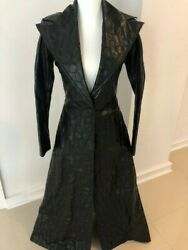 Vintage Marc Bouwer Black Faux Leather Chevron Pattern Full-length Trench Coat