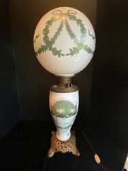 Antique Handel Lamp Hand-painted Hurricane Milk Glass Signed And Numbered