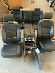 2014-2019 Sierra Silverado Heated Cooled Black Leather Seats Front Rear Console