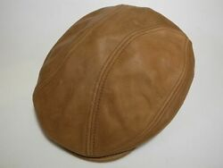 New York Hat Co Vintage Leather 1900 Hunting Cap Rust L/xl Made In Usa