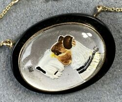 14k Yellow Gold Antique Victorian Essex Crystal Hunting Dog Puppy Pendant Onyx