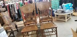 4 Antique Oak Pressed Back Chairs