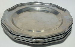 Rwp Wilton Columbia Armetale Queen Anne Salad Plates 9 Pewter Glossy Set Of 4