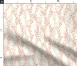 Small Scale Coral Mermaid Coordinate Warm Ocean Spoonflower Fabric By The Yard