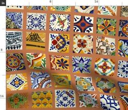 Mexican Tiles Tile Pottery Red America Art Spoonflower Fabric By The Yard