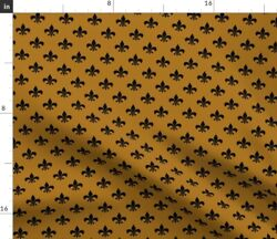 Black Fleur Lis Antique Gold French Power Spoonflower Fabric By The Yard
