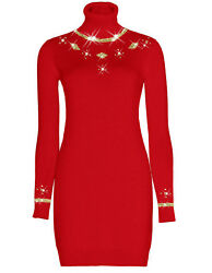 Luxe Oh` Dor 100 Cashmere Roll Neck Dress Manhattan Red Gold 42/144 5/12ft / L