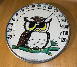 Vintage Jumbo Dial Owl Thermometer Made In U.s.a. Ohio Thermometer Co. Excellent