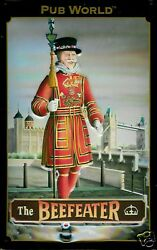 The Beefeater Tin Sign Shield Metal 3d Embossed Arched 7 7/8x11 13/16in