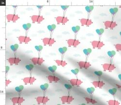 Pigs Fly Farm Piggy Balloons Funny Cloud Spoonflower Fabric By The Yard
