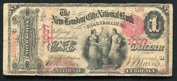 """1875 1 """"ace"""" The New London City Nb Of Connecticut National Currency Ch. 1037"""