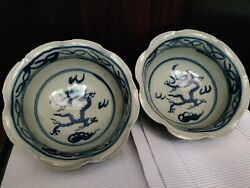 Handcraft Blue White Porcelain Crackle Bowl Cup Chinese Dragon Flower Characters