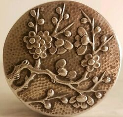 ❤️ Exceptional Antique Chinese Export Wang Hing Silver Blossom Hammered Box ❤️