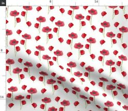 Red Poppies Botanical Poppy Wildflowers Plants Spoonflower Fabric By The Yard