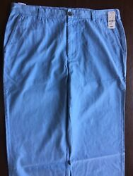 New Brooks Brothers Clark Trousers 38x34 Flat Front Blue Mrsp 99 Pants Chinos