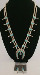 Zuni Silver Bead And Turquoise Squash Blossom Necklace With Matching Earrings
