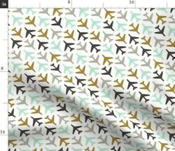 Abstract Airplanes Gray Mint Gold Planes Fabric Printed By Spoonflower Bty