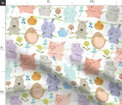 Bunnies Rabbits Hedgehogs Hippos Puppies Birds Spoonflower Fabric By The Yard