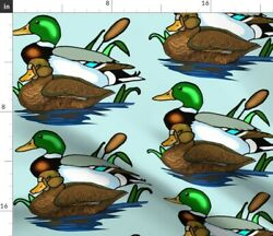 Nature Water Cat Outdoor Ducks Tail Mallard Spoonflower Fabric By The Yard