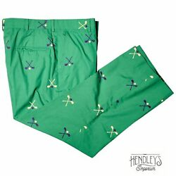 Vintage 50s Brooks Brothers Pants 34x25 In Kelly Green Golf Embroidered Chinos