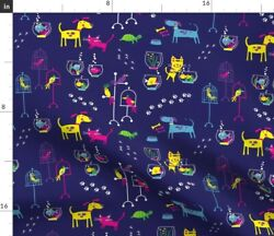 Ed Miller Dogs Cats Fish Pet Shop Spoonflower Fabric By The Yard