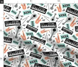 Retro Music Musical Piano Guitar Instruments Spoonflower Fabric By The Yard