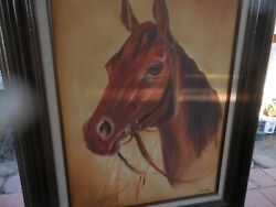 Vintage Original Oil On Canvas Painting Of Stallion Horse By Alberto Escamilla