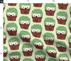Hedgehog, Cactus, Succulents, Flower Pots, Spoonflower Fabric By The Yard